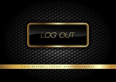 Gold Button log out on the luxury black background. Graphic elements. Stock Illustration
