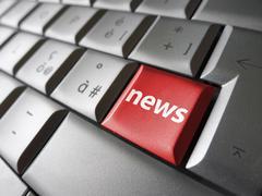 Web News Computer Key - stock photo