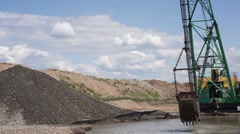 Career dredge on extraction of gravel Stock Footage