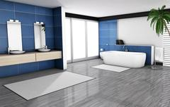 Blue Bathroom Home Interior Stock Illustration