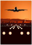 Airliner landing at skyline Stock Illustration