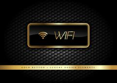 Gold Button on the luxury black background. Wifi Graphic elements. - stock illustration