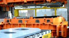Heavy hydraulic press in the car factory for sheet metal component pressing. Stock Footage