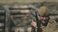 Close-up of hostilities, shelling of Sovestky soldiers in trenches Stock Footage