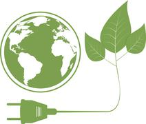 Ecology concept with electric plug - stock illustration