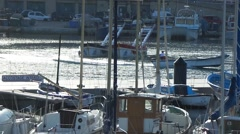 Boat in the quay in the port Stock Footage