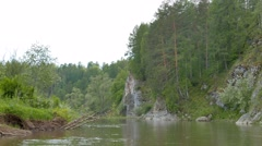 Rocks on the shore. River Serga, Urals, Russia. 1280x720 Stock Footage