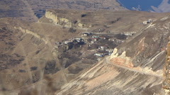 Beautiful view of the village in the mountains. Caucasus Mountains. Stock Footage