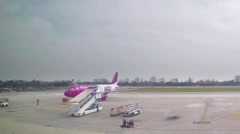 Stock Video Footage of Timelapse of plane taking off the runaway