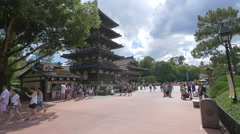 The Japanese Pagoda in the Walt Disney World in Orlando Stock Footage