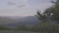 Snow-capped peaks plateau Lagonaki at sunset Stock Footage
