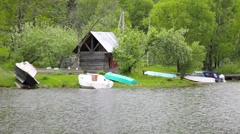 Boat House on the Lake - stock footage