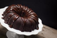 Dark Chocolate Ganache Bundt Cake - stock photo