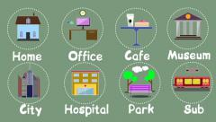 City life style animated creative icons of social places, 8 icons pack Stock After Effects