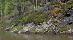 The rocks, the river Serga, Urals, Russia. 1280x720 Stock Footage