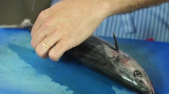 Food, Removing fish fins to prepare fish to grill - stock footage