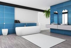 Modern Bathroom Aquamarine Interior Stock Illustration