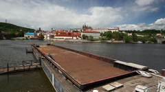 View on the spring Prague gothic Castle and big tugboat Stock Footage