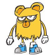 Yellow Bear rapper hip-hop - stock illustration