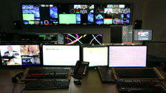 TV control room out of focus track left - stock footage