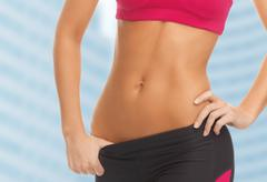 Woman trained abs Stock Photos