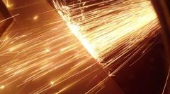 Angle Grinder strike sparks in the dark Stock Footage