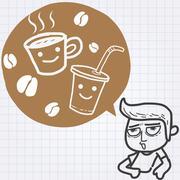Sleepy guy need coffee Stock Illustration