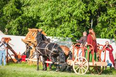 Celtic chariot in historical reenactment of Boudica's rebellion - stock photo