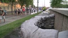 Sandbags on Street - Flood Stock Footage