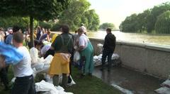 Taking Sandbags - Flood Stock Footage