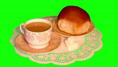 4k white coffee, big bun on saucers and sugar on paper napkin Stock Footage