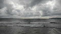 Dramatic cloudy sky over the sea Stock Footage