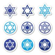 Jewish, Star of David icons set isolated on white Piirros