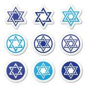 Stock Illustration of Jewish, Star of David icons set isolated on white