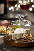 Bleu Cheese and Wine at Holiday Party Stock Photos