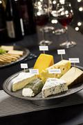 Stock Photo of Cheese and Wine Tasting Holiday Party