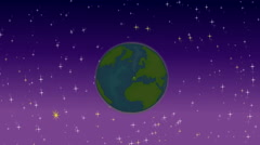 Stock Video Footage of Animated of Earth on the night sky with stars