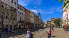 Market Square in Lviv, Ukraine timelapse Stock Footage