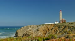 4K - Lighthouse at Sao Pedro de Moel, Portugal Stock Footage