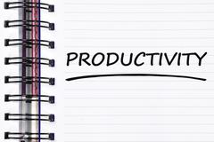 Productivity words on spring note book Stock Photos