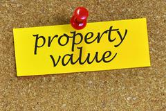 Property value word on notepaper with cork background Stock Photos