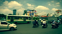 Ho Chi Minh City - April 2015: Roundabout traffic view. 4K resolution. Stock Footage