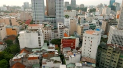 Aerial street view. Ho Chi Minh City. 4K resolution. April 2015 Stock Footage