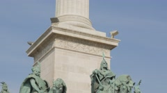 The Millennium Monument on Heroes square in the Hungarian capital Budapest sl Stock Footage