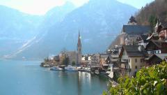 Hallstatt village in Austria, popular among tourists ski resort Stock Footage
