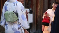 People in kimono around Higashiyama Stock Footage