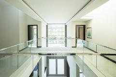 Modern balcony and open foyer in luxury home Stock Photos