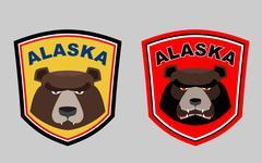 Alaska bear. Set logos for hunting or sports team. Vector illustration. - stock illustration