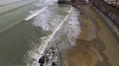 Seaside top view with rocks. Caspian Sea. Storm. Aerial video. Stock Footage