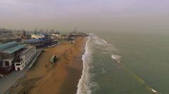 Seaside top view. Caspian Sea. Storm. Aerial video. Stock Footage